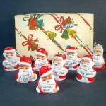 Box 1950s Porcelain Santa Claus Christmas Bell Ornaments