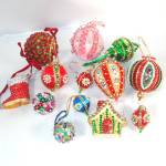 Click here to enlarge image and see more about item 12637: Lot 20 Pin Beaded Sequin Jeweled 1970s Christmas Ornaments