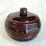 Click to view larger image of Antique Hand Painted Stoneware Covered Casserole (Image1)