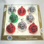 Click here to enlarge image and see more about item 12640: Boxed Set 1950s Bradford Cutout Filigree Plastic Christmas Ornaments