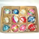 Box 1950s Poland 3 Inch Round Glass Christmas Ornaments
