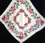 1950s Cotton Christmas Tablecloth Ornaments, Pine Cones, Bows