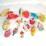 Click here to enlarge image and see more about item 12674: 15 Figural West German Glass Christmas Ornaments