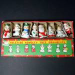 Box Figural Ceramic Bells Yuletide Novelty Christmas Ornaments