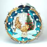 Click here to enlarge image and see more about item 12717: Pin Beaded Sequined Nativity Scene Diorama Christmas Ornament