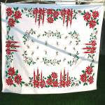 1950s Christmas Cotton Tablecloth Candles Poinsettia 52 by 58
