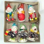 Click here to enlarge image and see more about item 12747: Box 50s Shiny Brite Christmas Dwarfs Chenille Pinecone Gnomes Elves