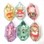 Click here to enlarge image and see more about item 12756: Jewel Brite Plastic Christmas Ornaments Spun Cotton Figures Inside