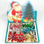 Click here to enlarge image and see more about item 12762: Box 1950s Large Metallic Foil and Bead Flower Christmas Ornaments