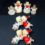 1950s Kissing Angel Christmas Candle Huggers Plus 5 More Angels