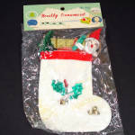 Shiny Brite 1950s Christmas Stocking Ornament Chenille Santa