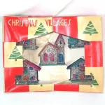 Box Miniature Mica Encrusted Christmas Putz Village Ornaments