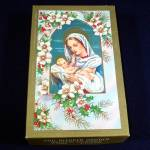 Click here to enlarge image and see more about item 12876: Our Blessed Mother Box 1950s Religious Christmas Cards