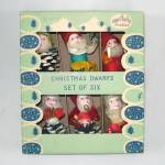Click here to enlarge image and see more about item 12982: Box 50s Shiny Brite Christmas Dwarfs Chenille Pinecone Gnomes Elves