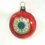 German Glass Pocket Watch Christmas Ornament Scrap Clock Face