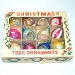 Box Poland 1950s Decorated Glass Christmas Ornaments
