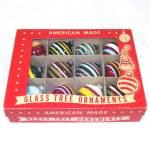 Click here to enlarge image and see more about item 13001: Box Unsilvered World War II Glass Stripes Christmas Ornaments