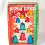 Click here to enlarge image and see more about item 13030: Box 1940s Bo-Jo Bojo Bells Plastic Christmas Ornaments