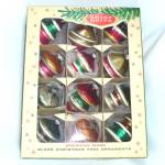 Click here to enlarge image and see more about item 13040: Box Eames Era Shiny Brite UFO Sputnik Shape Christmas Ornaments