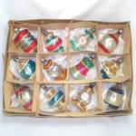 Click here to enlarge image and see more about item 13073: Box 1940s Premier Shapes Figural Glass Christmas Ornaments
