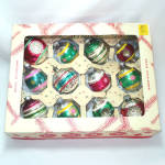 Click here to enlarge image and see more about item 13123: Box 1950s USA Glass Christmas Ornaments Indents, Egg Shapes