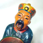 Click to view larger image of Antique Majolica China Man Figural Incense Burner Figurine (Image2)