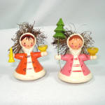 Italy Wooden Angel Mini Christmas Candle Holder Figures