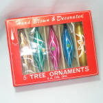 Box Poland Hand Painted Glass Icicle Teardrop Christmas Ornaments