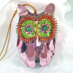 Click here to enlarge image and see more about item 13181: Pin Beaded Sequined Pink Owl Christmas Ornament