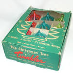 Click here to enlarge image and see more about item 13183: Box 12 Twinkler Plastic Birdcage Spinner 1950s Christmas Ornaments