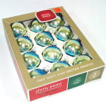 Box Shiny Brite Rainbow Shaded Blue Green Christmas Ornaments