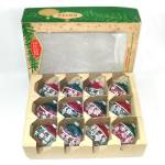 Click here to enlarge image and see more about item 13254: Box Shiny Brite Unsilvered Stenciled Glass Christmas War Ornaments