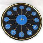 Click here to enlarge image and see more about item 13274: Glass Zodiac Astrological Signs Mid Century  Wall Clock