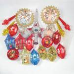 Click here to enlarge image and see more about item 13370: Lot 33 Mid Century Plastic Dimensional Christmas Ornaments