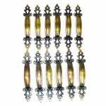 Click here to enlarge image and see more about item 13415: 12 Retro Brass Spanish Mediterranean Gothic Cabinet Drawer Pulls