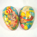 Double Scene Paper Mache Easter Egg Candy Container