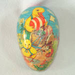 Click to view larger image of Double Scene Paper Mache Easter Egg Candy Container (Image2)