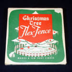 Click here to enlarge image and see more about item 13421: 1950s Red White Metal Christmas Tree Fence Unused in Box