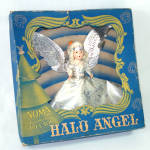 Click here to enlarge image and see more about item 13423: 1940s Noma Composition Face Halo Angel Christmas Tree Topper