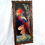Click here to enlarge image and see more about item 13435: Large Exotic Bird Mexican Folk Feather Art Picture 31 Inches Long