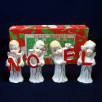 Click here to enlarge image and see more about item 13437: Commodore Noel Christmas Angels 1950s Candle Holders Boxed Set