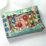 Click here to enlarge image and see more about item 13467: Shiny Brite Box 24 Miniature Glass Christmas Ornaments Multi Color