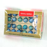 Click here to enlarge image and see more about item 13468: Box 24 Blue Shiny Brite Mini Feather Tree Christmas Ornaments