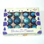 Click here to enlarge image and see more about item 13470: 1950s Shiny Brite Blue Feather Tree Glass Christmas Ornaments