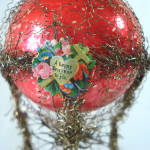 Click to view larger image of Victorian Wired Tinsel Glass Hot Air Balloon Christmas Ornament (Image3)