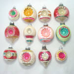 Click here to enlarge image and see more about item 13509: 12 Shiny Brite Fancy Double Indent Mica Christmas Ornaments