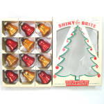 Click here to enlarge image and see more about item 13513: Box Shiny Brite Red Gold Glass Bells Christmas Ornaments