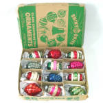 Click here to enlarge image and see more about item 13514: Box Shiny Brite 1940s Shapes Glass Christmas Ornaments