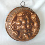 Click here to enlarge image and see more about item 13524: Hand Wrought Copper Grapes Mold 10 Inches