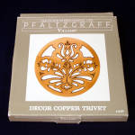 Click here to enlarge image and see more about item 13526: Pfaltzgraff Village Copper Flower Trivet Mint in Box